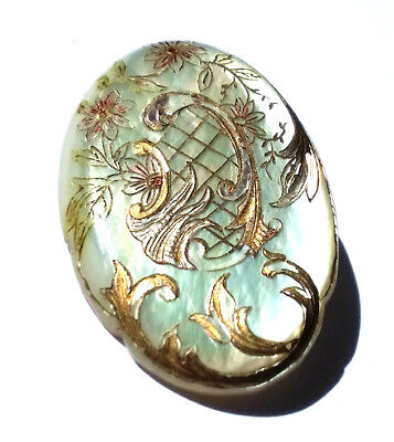 Antique Button…Gorgeous Large Oval Pearl…Intricately Engraved