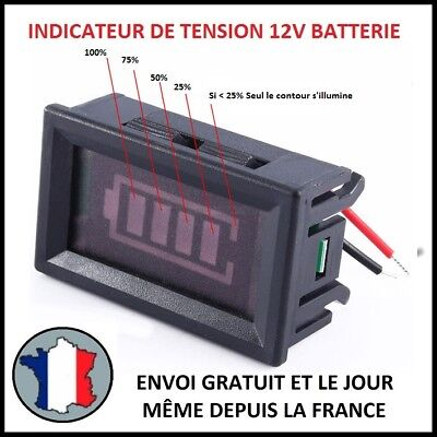 Indicateur De Tension Batterie Pourcent % Charge Rouge Voltmètre Volt Jauge