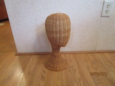 "Vintage Wicker Mannequin Head/Wig/Hat Stand Display 14 3/4""Tall"