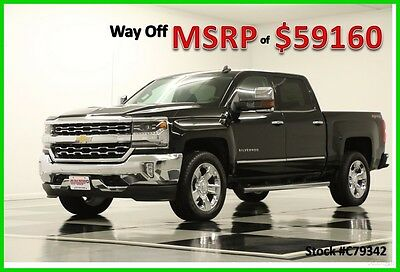 2017 Chevrolet Silverado 1500 MSRP$59160 4X4 LTZ 6.2L V8 GPS Black Crew 4WD New Navigation Heated Cooled Seats 20 In Chrome Wheels Grille Bumper Cab Bose