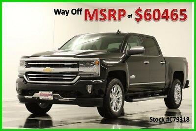 2017 Chevrolet Silverado 1500 MSRP$60465 4X4 High Country Sunroof GPS Black Crew 6.2L New Navigation Bedliner Jet Leather Seats Short Bed Cab Camera 16 2016 17