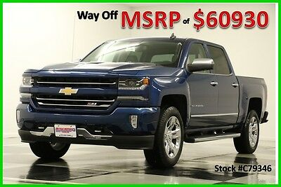 2017 Chevrolet Silverado 1500 MSRP$60930 4X4 LTZ Z71 Sunroof GPS Blue Crew 4WD New Navigation Heated Cooled Leather 6.2L V8 Bose 16 2016 17 20 Inch Chrome