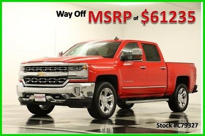 2017 Chevrolet Silverado 1500 MSRP$61235 4X4 LTZ DVD GPS 6.2L Leather Red Crew New 20 In Chrome Navigation Cocoa Dune Tan Leather Cab Short Bed Camera 4WD V8