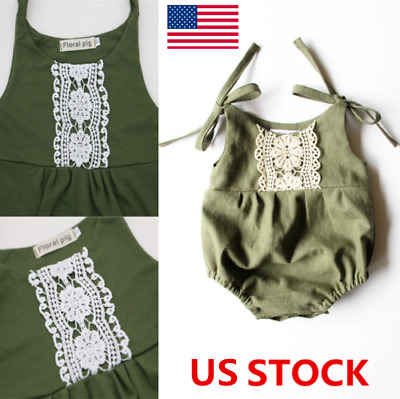 Summer Baby Girl Sleeveless Cotton Romper Lace Jumpsuit Bodysuit Outfits Clothes