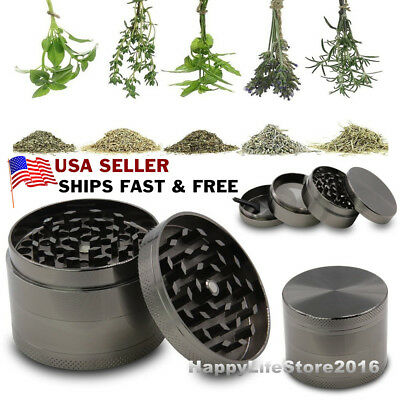 4 Piece Grinder, Tobacco Herb Spice WEE D-Crusher, 2 Inch Zinc Alloy Smoke Metal