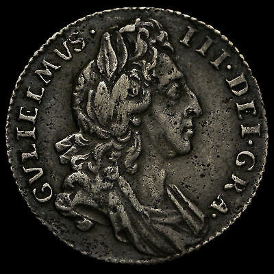 1696 William III Early Milled Silver Sixpence
