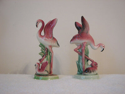 2  Vintage  Flamingo Mom & Baby Figurines With Wings Up