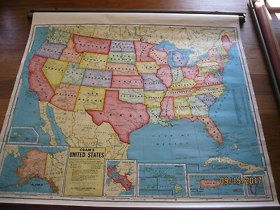 Vintage  Cram's United States  Cloth-Back Pull-Down Map