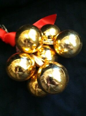 Christmas Blown Glass Ornaments Picks Vintage Mercury 1 1/2 in. Gold 7 Pieces