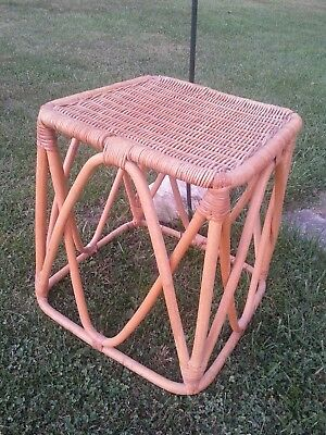 Vintage Bamboo Wicker Stool / Table