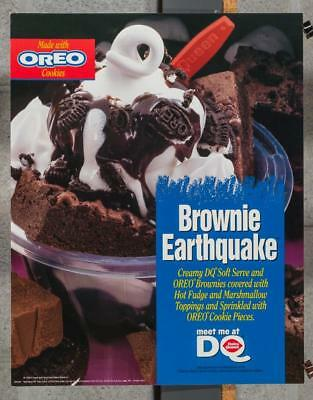 Dairy Queen Promotional Advertising Poster Oreo Brownie Earthquake dq2