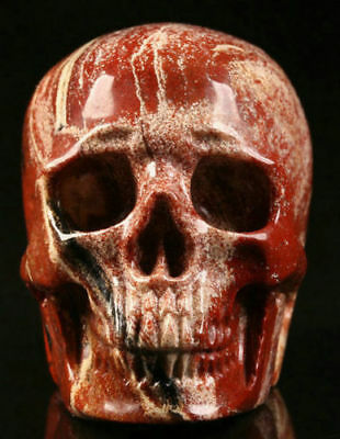 Natural 2 IN Genuine Red Jasper Carved Crystal Skull, Realistic,Healing #384