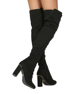 593fe0a4017 NEW WOMEN WILD Diva Vanessa-03 Faux Suede Over The Knee Lace Up Block Heel  Boot