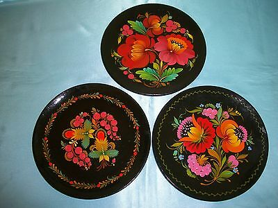 Vintage Hand Painted Russian Wood Plates Floral on Black Set of 3