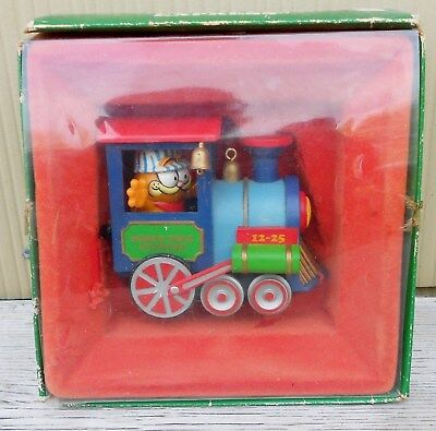 Vintage Garfield North Pole Express Train Ornament Enesco 1978 In Box Pull Wind