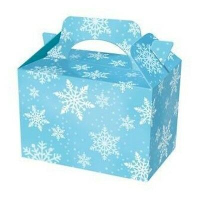 10x SNOWFLAKE Frozen Food LUNCH Meal BOXES Takeaway Party Xmas Loot Bag Gift Box
