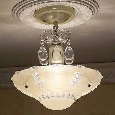 147b Vintage CEILING LIGHT lamp chandelier fixture glass shade beige 3 Lite Bulb