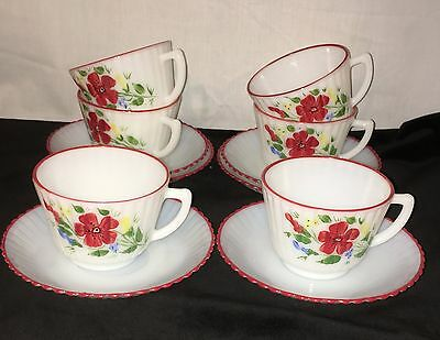 6 Petalware Monax* Red Trim Floral*mountain Flower*cups & Saucers*