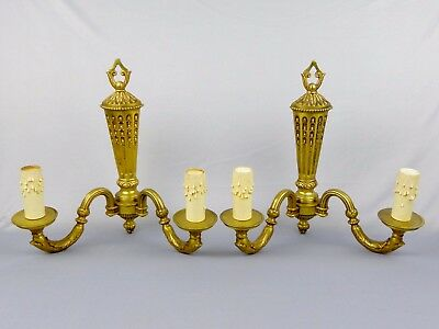 French, Large Pair Wall Light. Bronze, Antique, Empire Style. Sconces, Candles.