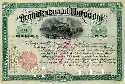 1890s Providence & Worcester RR Stock Certificate