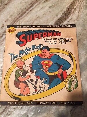 Superman, The Magic Ring, Book And Record #2 , Musette Records, 1947, Steinway