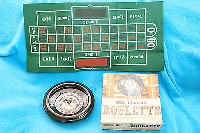 VINTAGE BARON DELUXE ROULETTE - No. 130/400 - WHEEL, BALL, 3-COLOR FELT LAYOUT