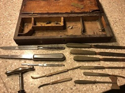 Antique E.M. Hessler Surgical Medical Tools & Case Veterinary Amputation 18TH CE