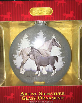 Breyer Holiday 2017 Artist Signature Glass Blown Ornament Clydesdale & Shire