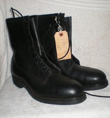 NOS Vintage steel toe Cove 9W 9 W men's black military army boots + orig receipt