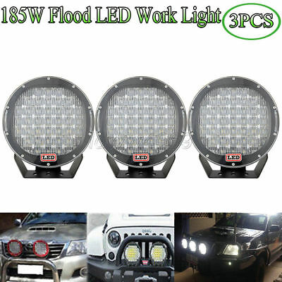 3pcs 9''inch Round 185W CREE LED Work Flood Light Driving Off-Road Truck 4WD SUV