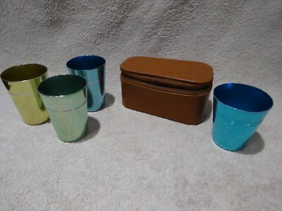 Retro/Vintage Anodized/Anodised travel cups set with case