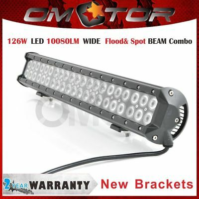 New Bracket 21INCH 126W CREE LED WORK LIGHT BAR Spot&Flood beam Combo ATV UTE