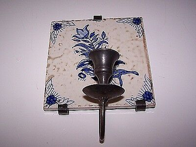 Vintage Metal Candle Holder Holding Blue White Clay Tile Hanging Wall Sconce