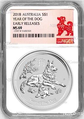 2018 P Australia Silver Lunar Year of the DOG NGC MS69 1 oz Coin ER Perfect