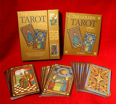 THE GOLDEN TAROT CARDS FULL DECK & BOOK by LIZ DEAN