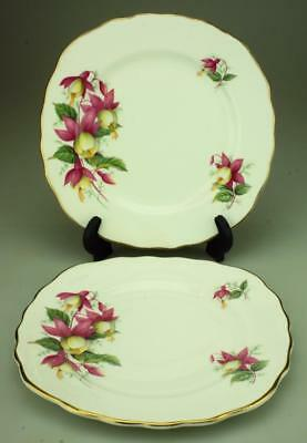 Vintage 1960's Royal Vale Pink Fuchsias Pair of Bread & Butter Plates KC262