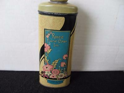 Vintage Royce-Floral Talcum Powder Tin-with-Contents