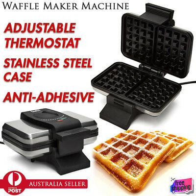 Electric Waffle Maker Machine Cooker Nonstick Baker Plate Stainless Steel Case