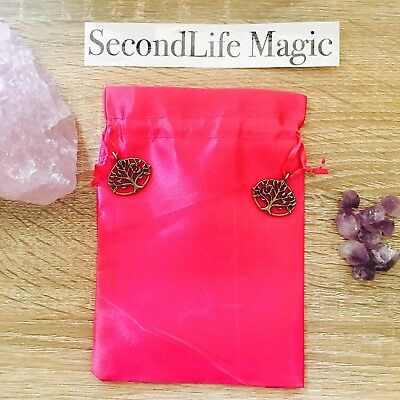 Pink Tarot Bag With Bronze Tree Of Life Charms ~ Magick Spell Card Oracle Wicca
