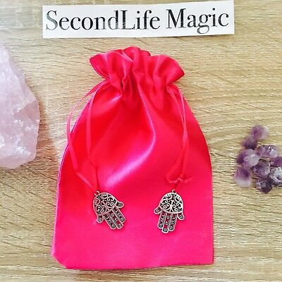Pink Tarot Bag With Silver Hand Of Karma Charms ~ Magick Spell Card Oracle Wicca