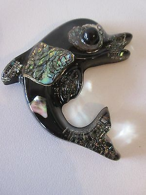 Vintage Resin Paua Shell Crystal Craft Dolphin Wall Hanging