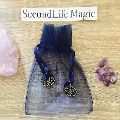 Navy Crystal Bag with Tree Of Life Charms ~ Small Magick Spell Card Oracle Wicca