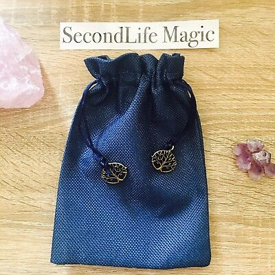 Blue Tarot Bag / Pouch With Tree Of Life Charms ~ Wicca, Occult, Magick.