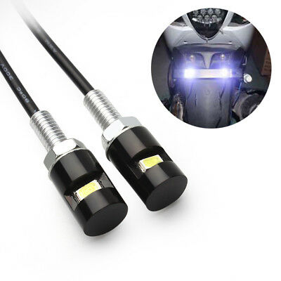 2x NUMBER PLATE SCREW/BOLT LED WHITE LIGHTS FOR TAIL TIDY MOTORBIKE & CARS