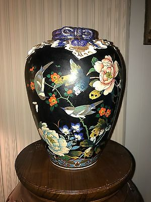ca 19th c Japanese cloisonné on porcelain vase Meiji period artist signed asian