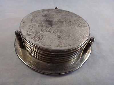 Vintage Set of 6 Silver Plate Drink Coasters in Caddy Holder Silverplate