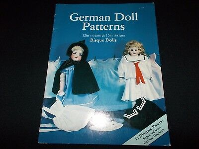 "German Doll Patterns~For 12"" & 15"" Bisque Dolls~Full-Size Doll Clothes Patterns"
