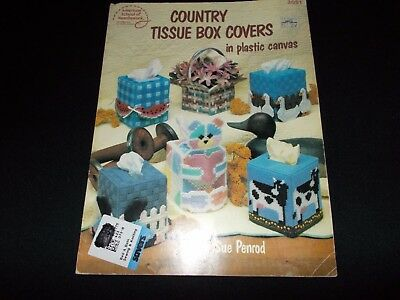 Country Tissue Box Covers In Plastic Canvas~13 Designs~Uses #7 Mesh~Cat~Cow~1988
