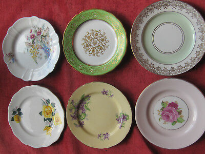 Vintage English Bone China Side Plates High Tea Retro x 6 Aynsley Colclough etc