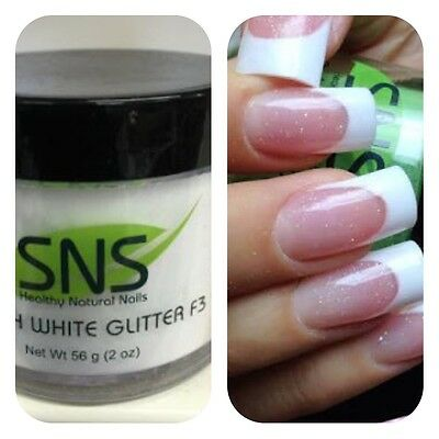 SNS FRENCH WHITE GLITTER F3 Signature Nail System Dipping Powder:2oz